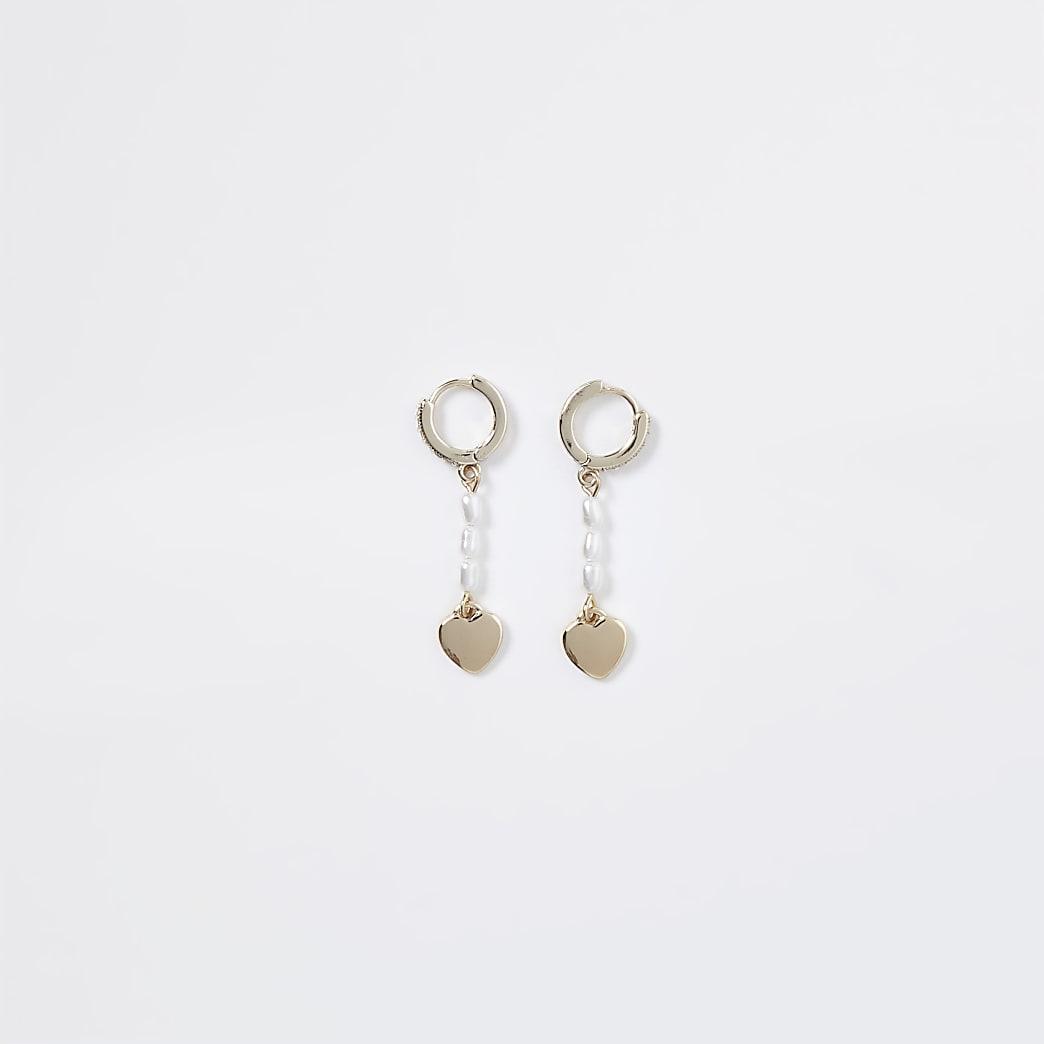 Gold colour pearl mini heart hoop earrings