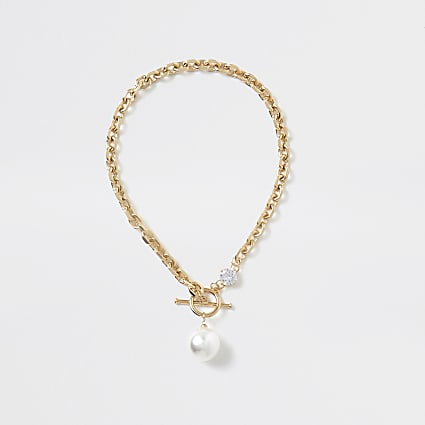 Gold colour pearl 'RIR' chain necklace