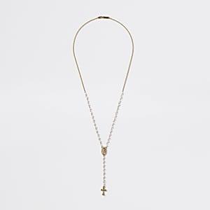 Goldfarbene Halskette mit Rosenkranz aus Perlen