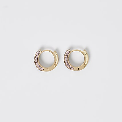 Gold colour pink diamante hoop earrings