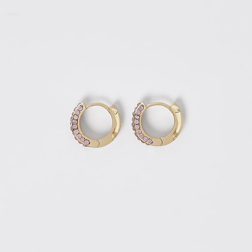 Gold colour pink diamante hoop earrings