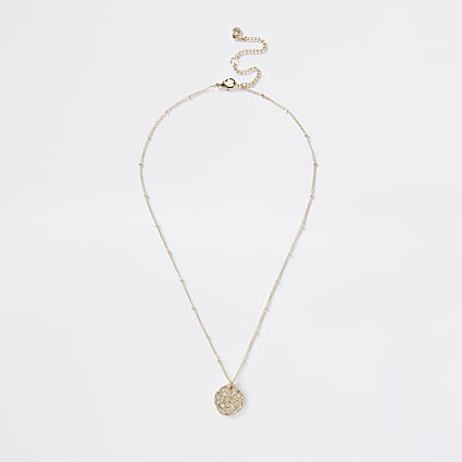 Gold colour Pisces horoscope coin necklace