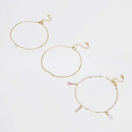 Gold colour pretty tassel anklet pack