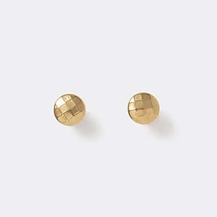 Gold colour raised tunnel stud earrings