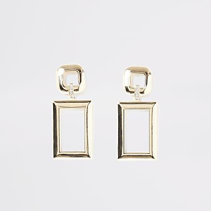Gold colour rectangle diamante earrings