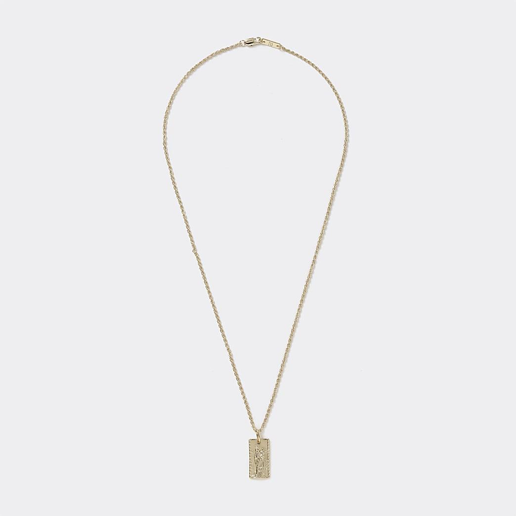 Gold colour rectangle engraved pendant