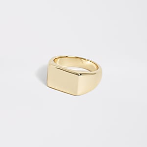 Gold colour rectangle signet ring
