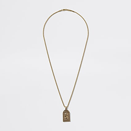 Gold colour religious charm pendant necklace