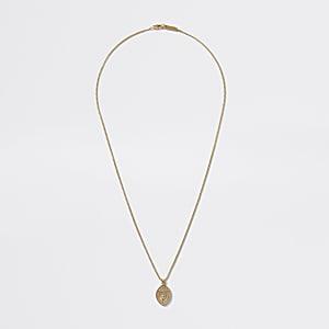 Goldfarbene Halskette mit religiösem Amulettanhänger