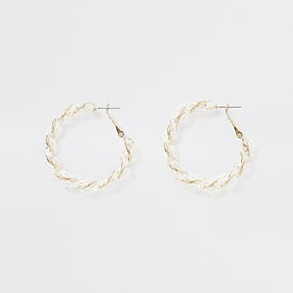 Gold colour resin twist hoop earrings