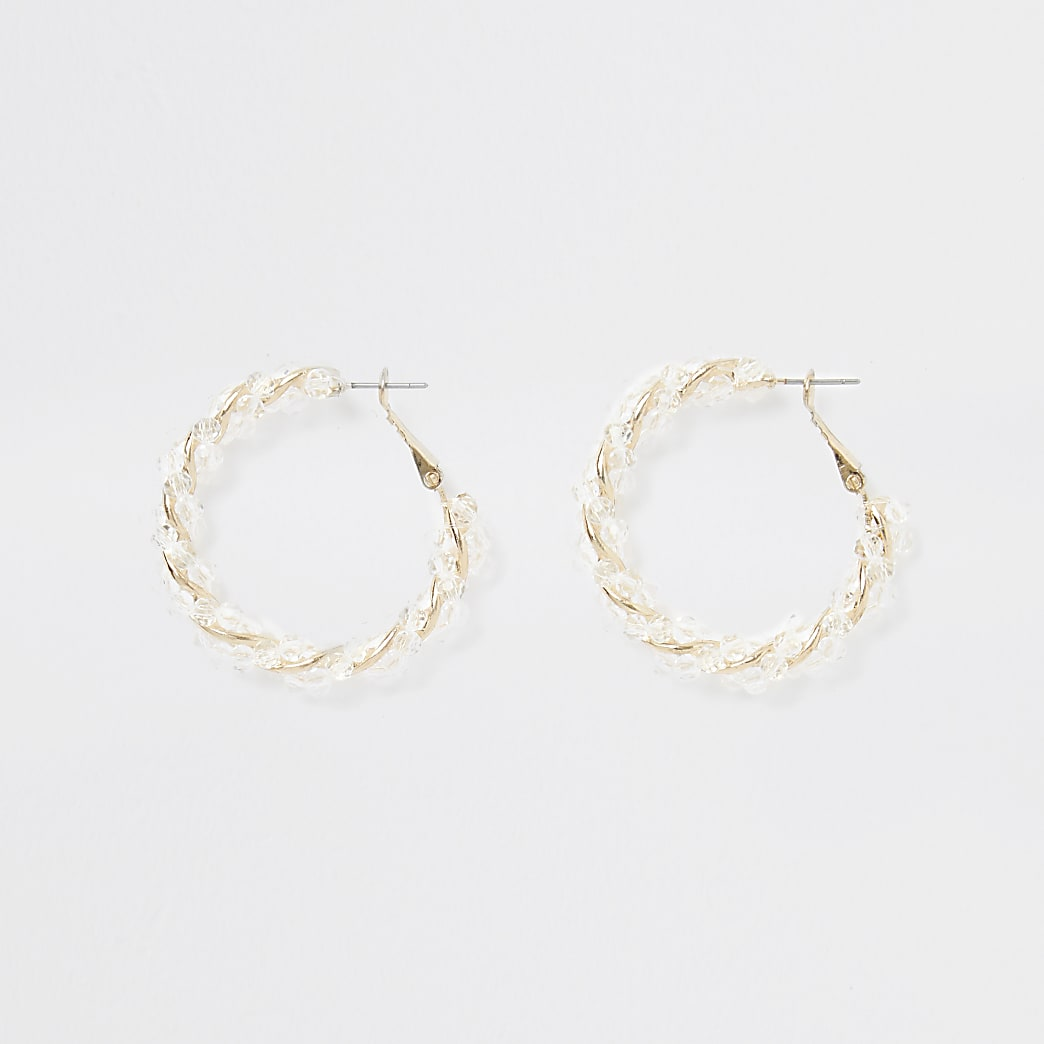 Gold colour resin twist hoop earrings