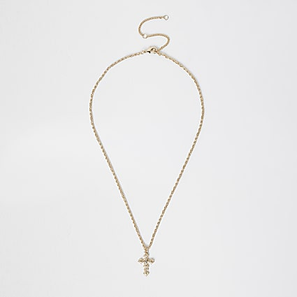 Gold colour rhinestone cross necklace