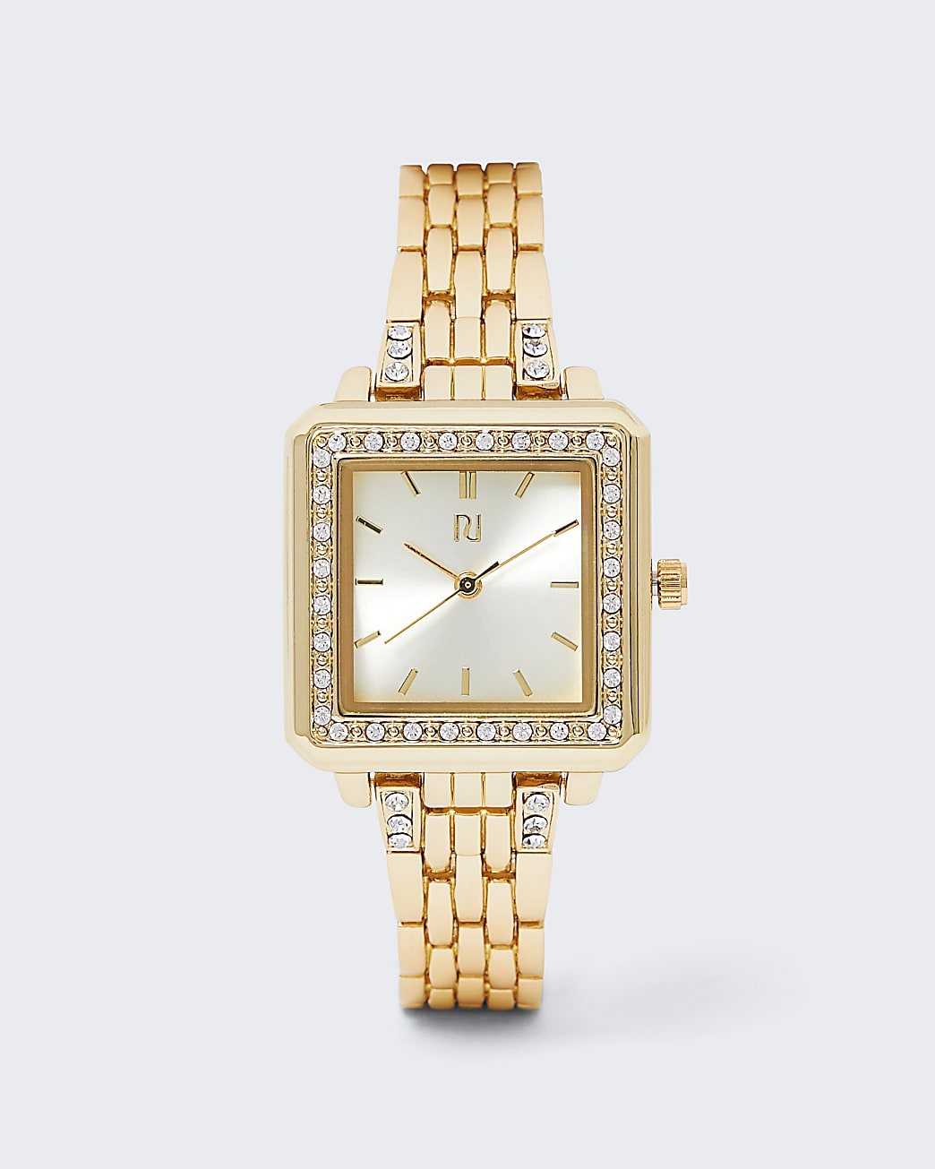 Gold Colour Rhinestone Square Watch