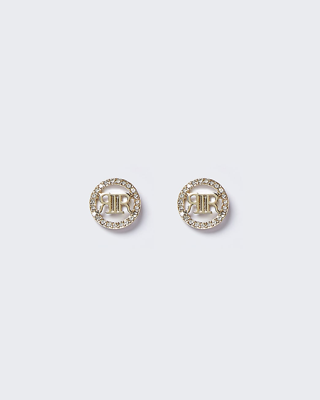 Gold colour rhinestone stud earrings