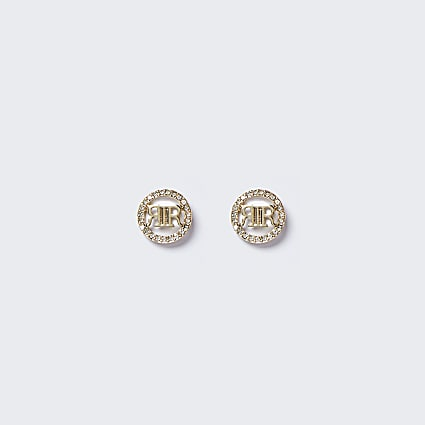 Gold colour rhinestone stud earrings
