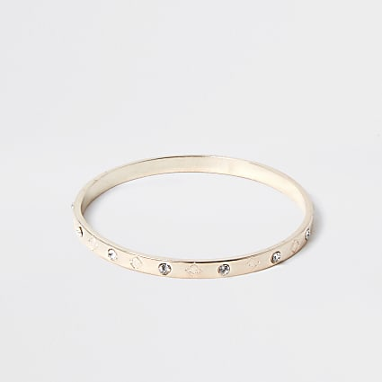 Gold colour RI diamante bangle