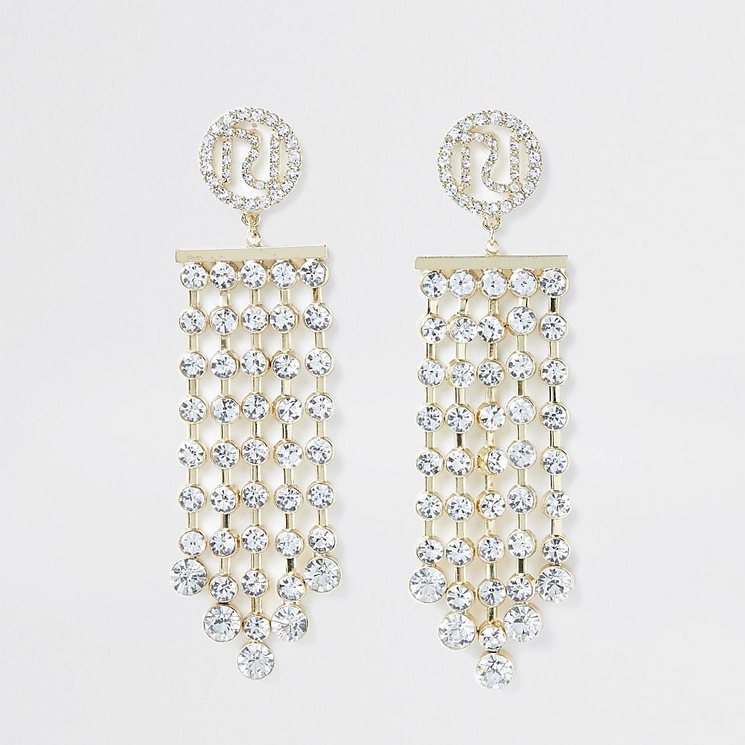 Gold colour RI engraved drop earrings