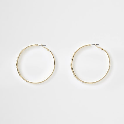 Gold colour RI engraved hoop earrings