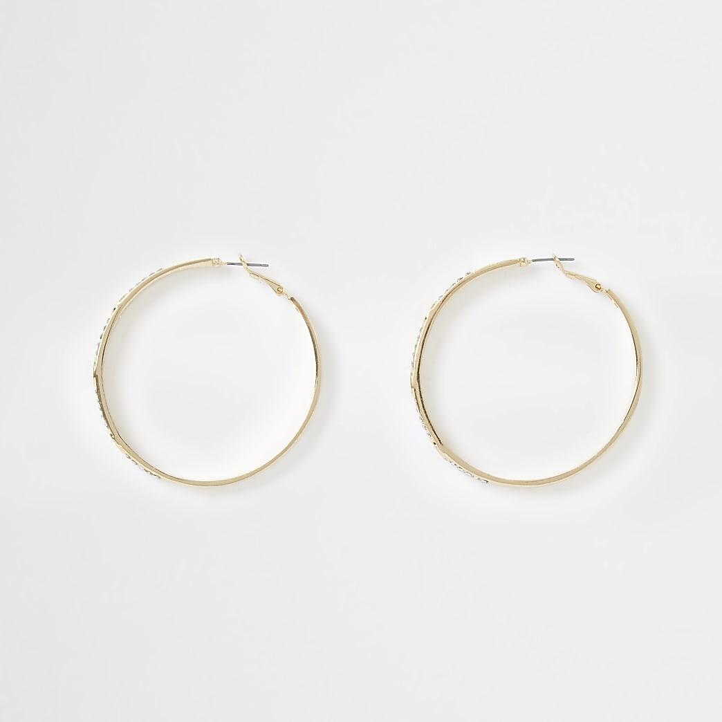 Gold colour RI engraved hoop earrings