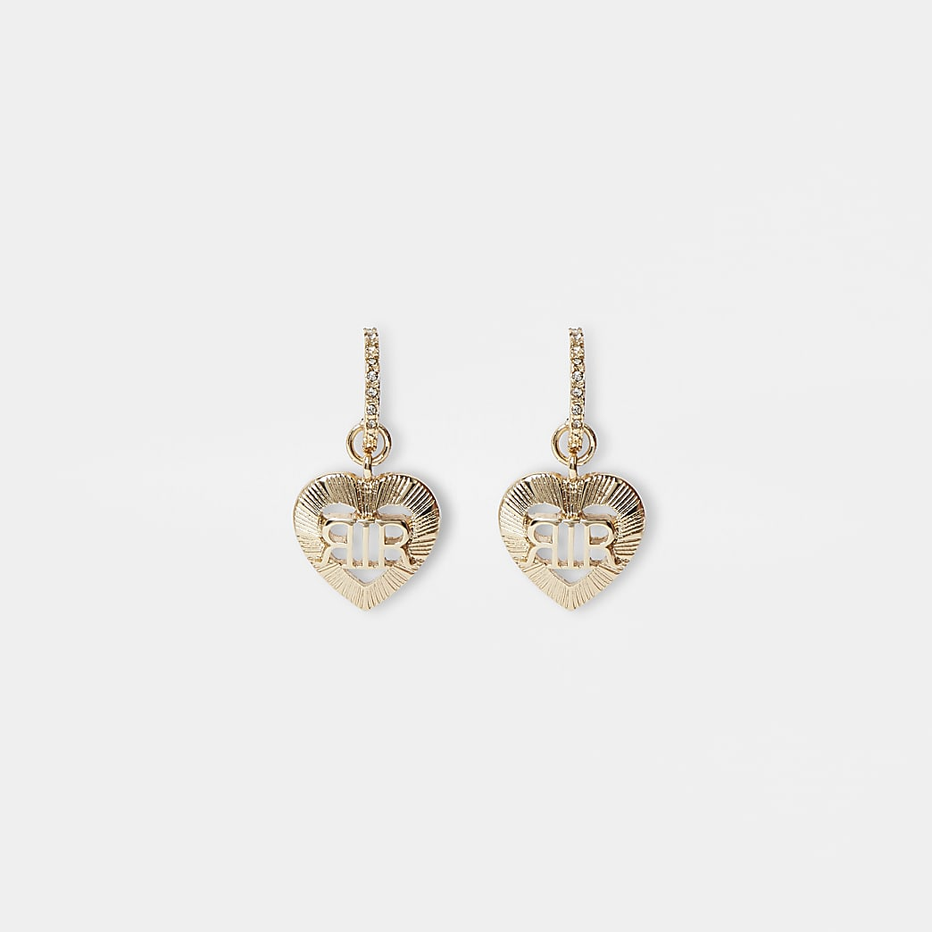 Gold colour RI heart drop hoop earrings