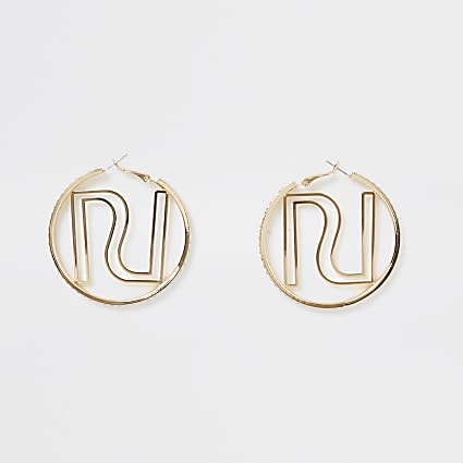 Gold colour RI logo hoop earrings