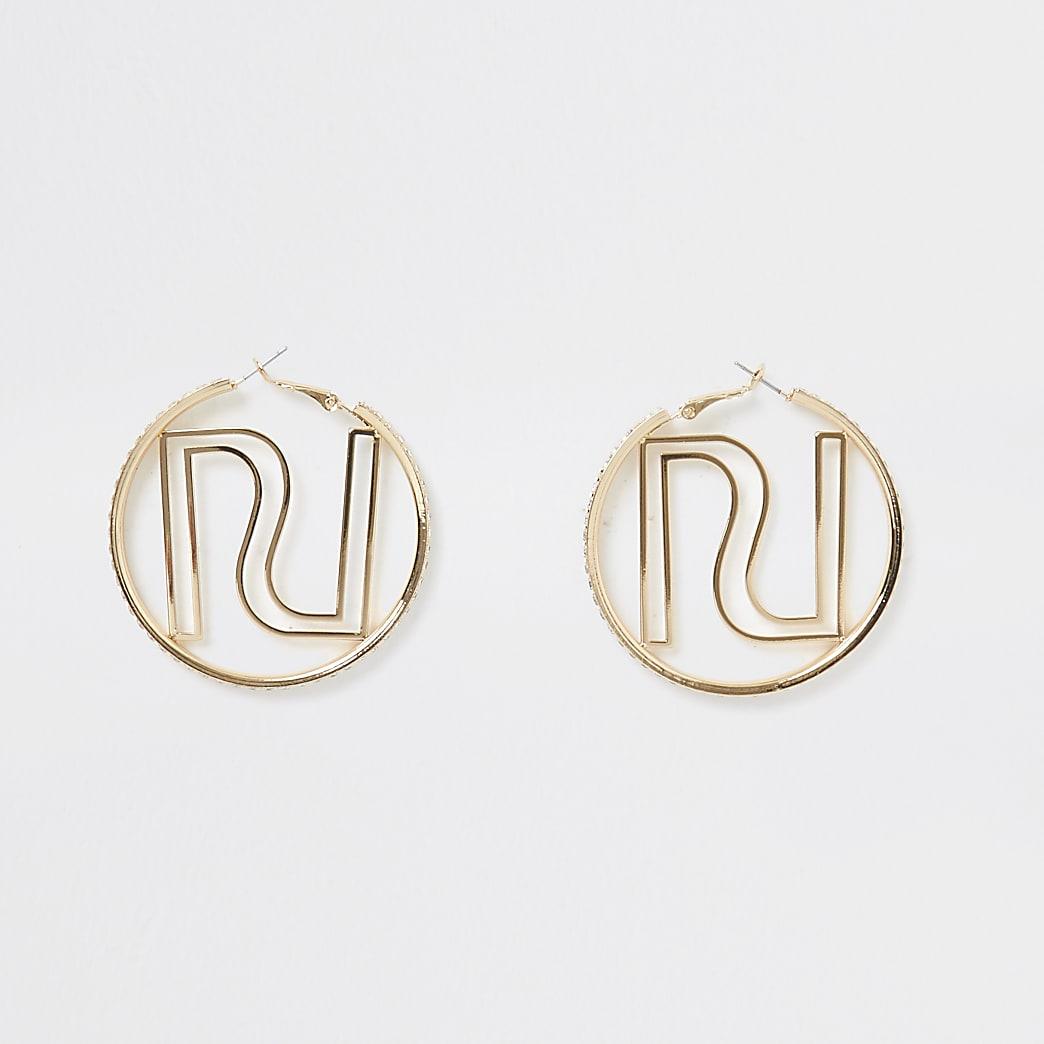 Gold colour RI logo hoop earrings