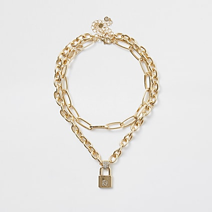 Gold colour RI Logo padlock chain necklace