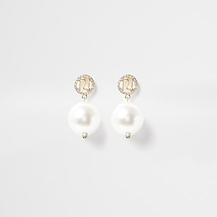 Gold colour RI Logo pearl drop earrings