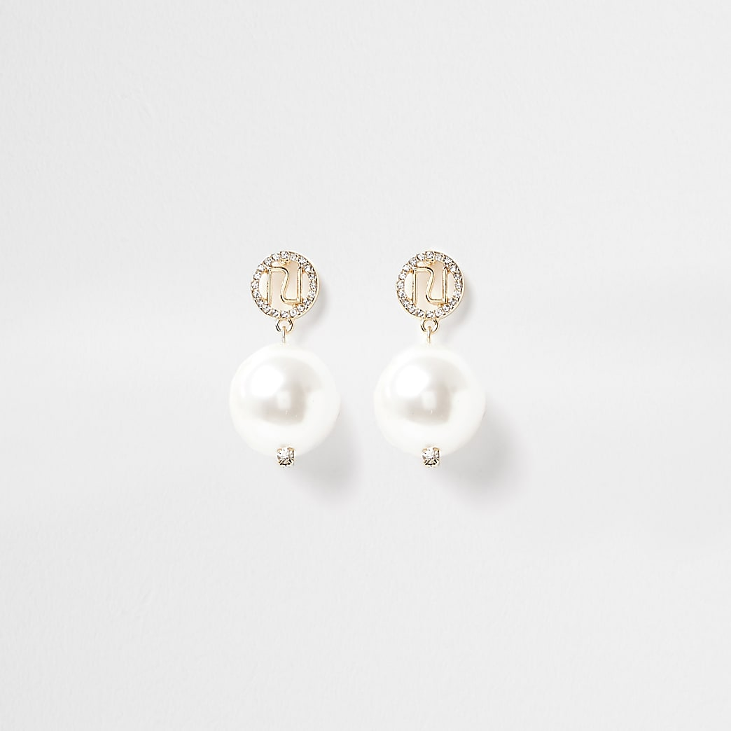 Gold colour RI Logo pearl drop earrings