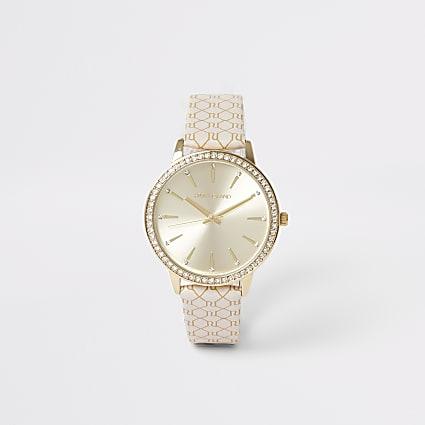 Gold colour RI monogram strap watch