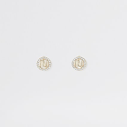 Gold colour RI pave surround stud earring