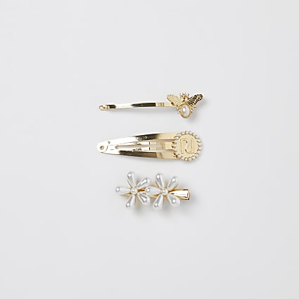 Gold colour RI pearl and bee hair clips