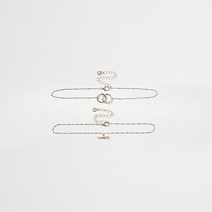 Gold colour ring chain choker necklace 2 pack