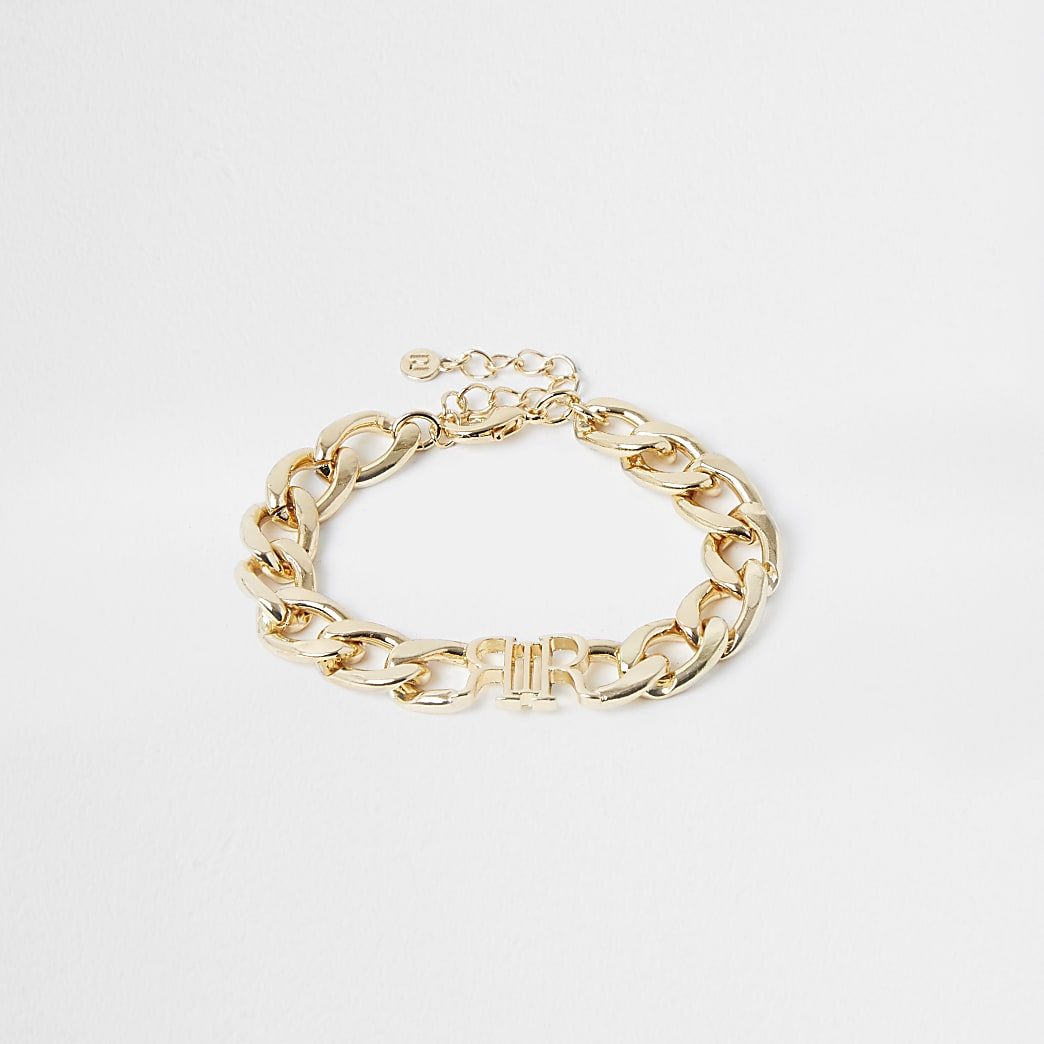 Gold colour 'RIR' chain bracelet