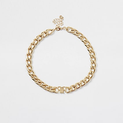 Gold colour 'RIR' chain necklace