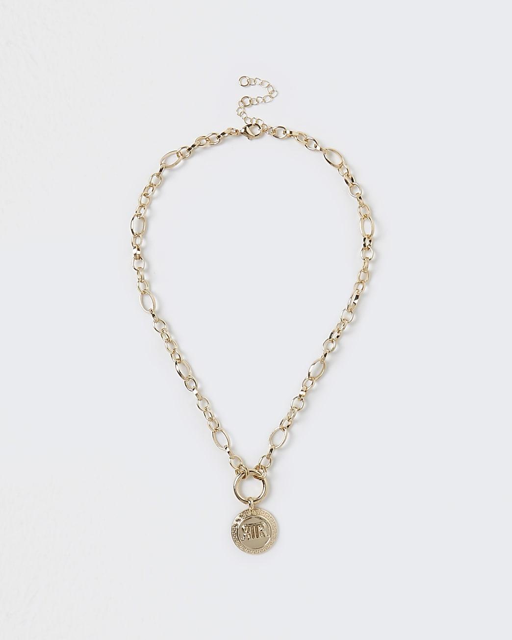 Gold colour 'RIR' coin charm chain necklace