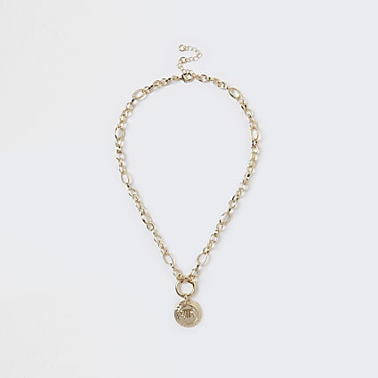 Gold colour 'RIR' coin charm chain necklace