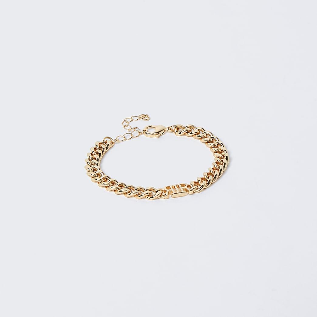 Gold colour 'RIR' link chain bracelet