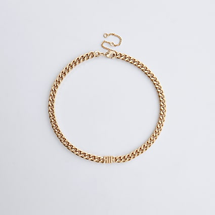 Gold colour 'RIR' link chain choker necklace