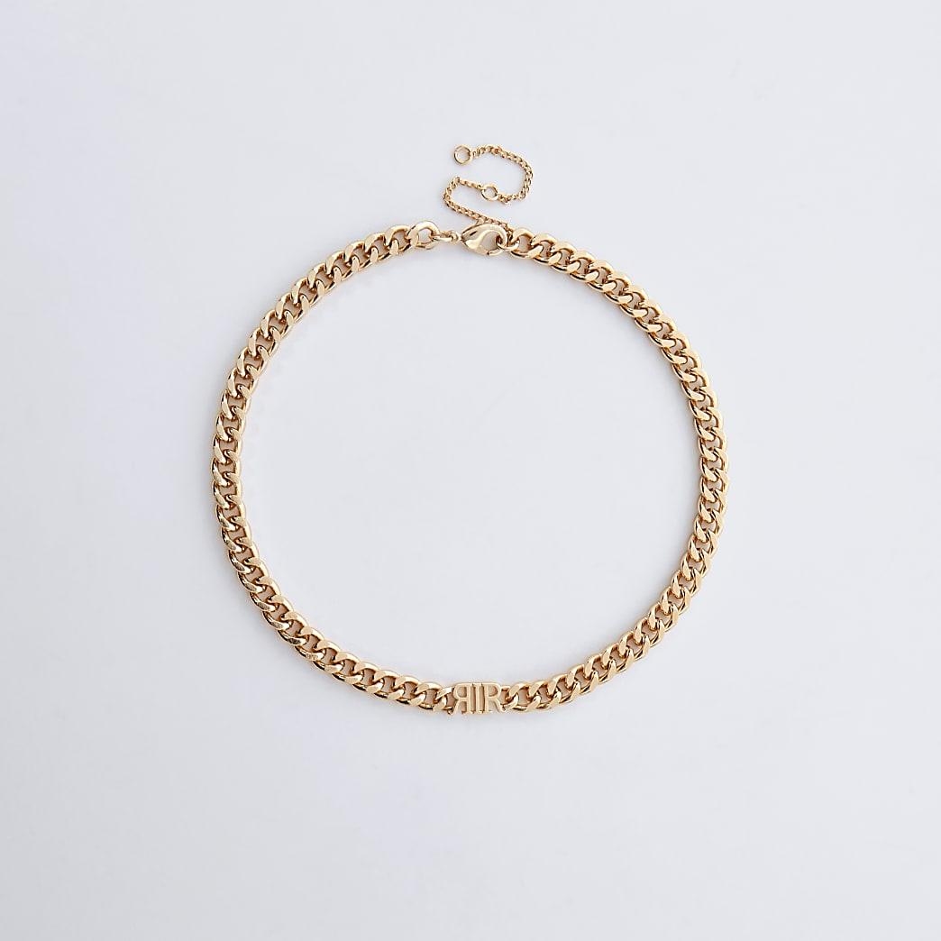 Gold colour 'RIR' link chain choker necklace