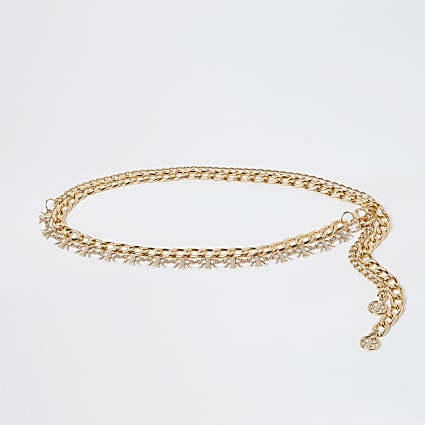 Gold colour 'RIR' logo chain belt 2 pack