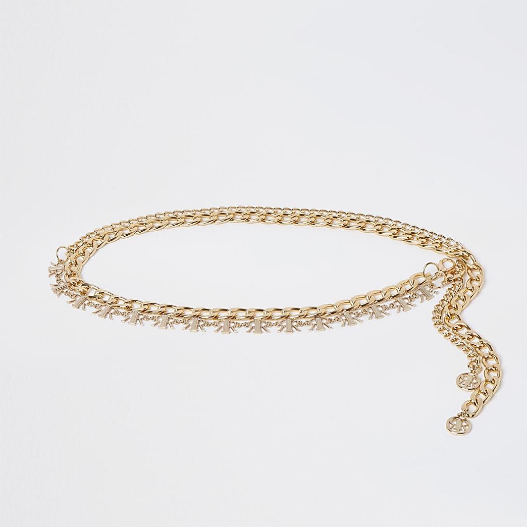 Gold colour 'RIR' logo chain belt 2 pack