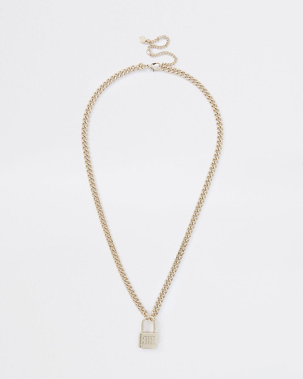 Gold colour 'RIR' padlock ditsy necklace