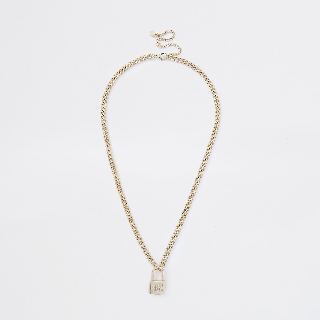 Gold colour 'RIR' padlock ditsy necklace