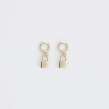 Gold colour 'RIR' padlock hoop earrings
