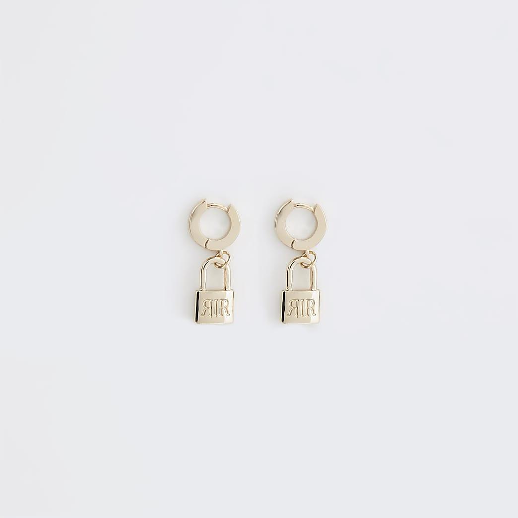 Gold colour 'RIR' padlock hoop earrings