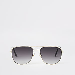 Gold colour rope embossed aviator sunglasses