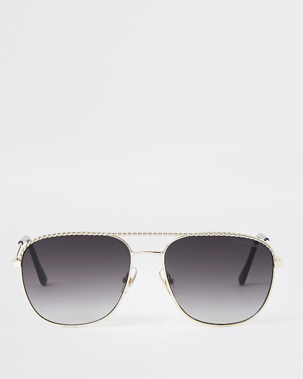 Gold colour rope embossed aviator sunglasses