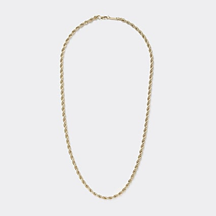 Gold colour rope twist chain necklace