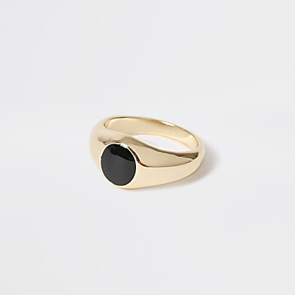 Gold colour round stone signet ring